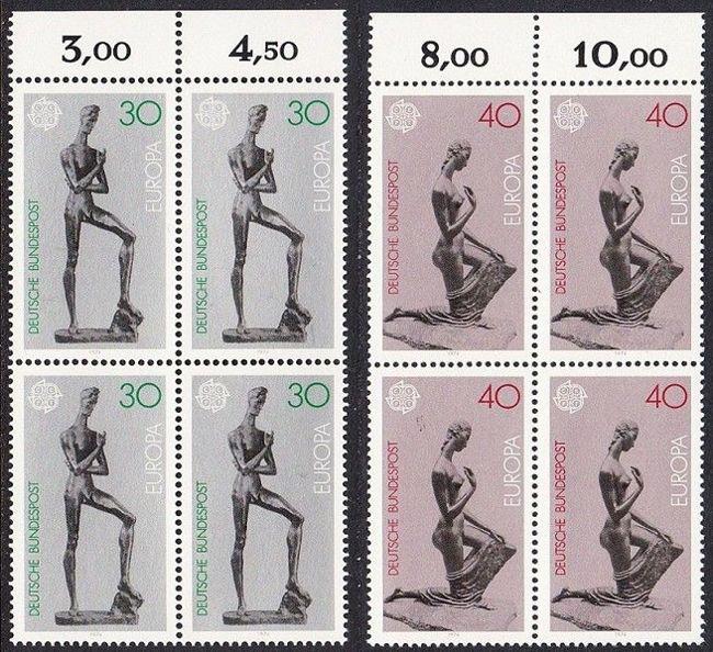 BUND 1974 Michel-Nummer 0804-0805 postfrisch SATZ(2) BLÖCKE RÄNDER oben (b)