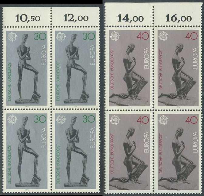 BUND 1974 Michel-Nummer 0804-0805 postfrisch SATZ(2) BLÖCKE RÄNDER oben (a)