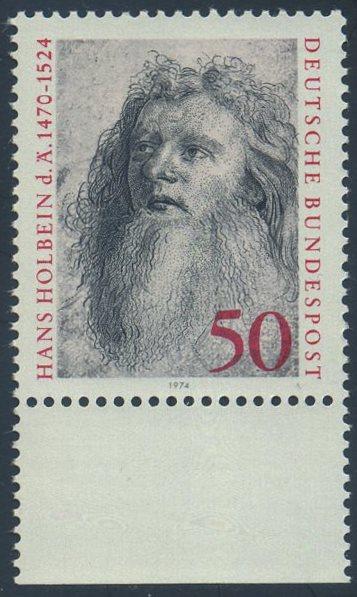 BUND 1974 Michel-Nummer 0813 postfrisch EINZELMARKE RAND unten