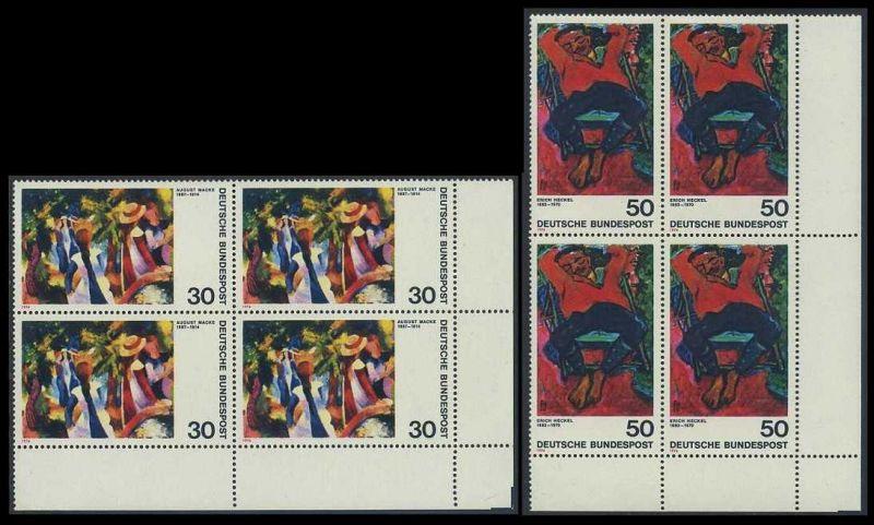 BUND 1974 Michel-Nummer 0816-0817 postfrisch SATZ(2) BLÖCKE ECKRAND unten rechts