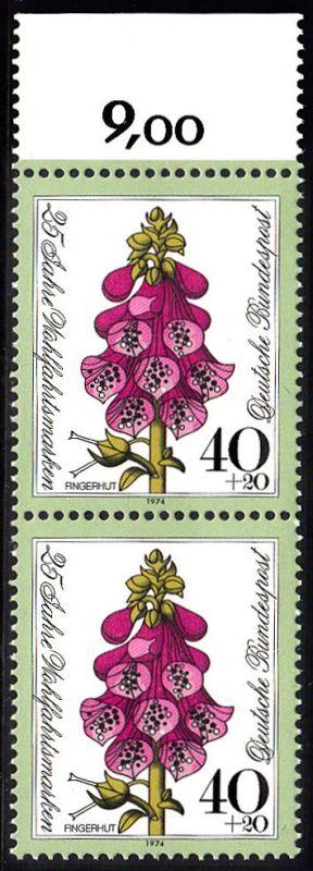 BUND 1974 Michel-Nummer 0819 postfrisch vert.PAAR RAND oben