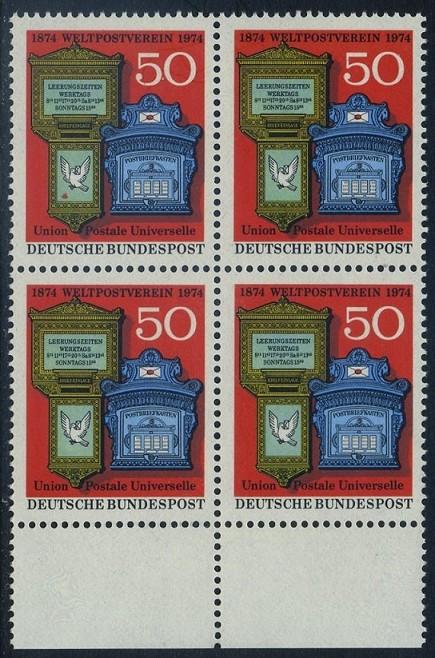 BUND 1974 Michel-Nummer 0825 postfrisch BLOCK RÄNDER unten