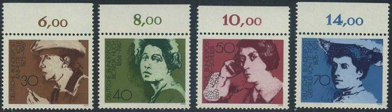 BUND 1975 Michel-Nummer 0826-0829 postfrisch SATZ(4) EINZELMARKEN RÄNDER oben