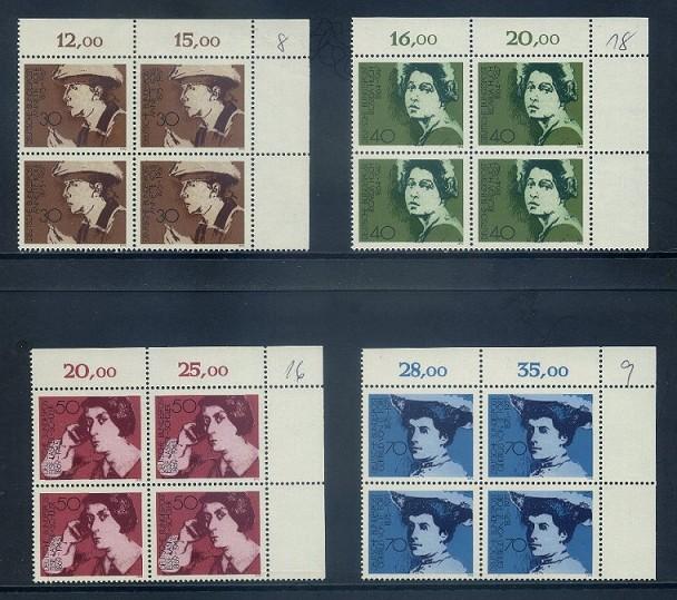 BUND 1975 Michel-Nummer 0826-0829 postfrisch SATZ(4) BLÖCKE ECKRAND oben rechts (a) 0