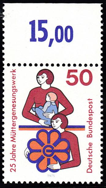 BUND 1975 Michel-Nummer 0831 postfrisch EINZELMARKE RAND oben (b) 0