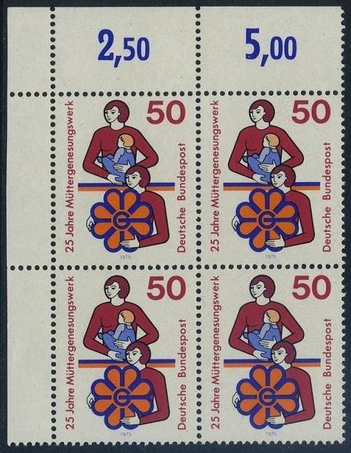 BUND 1975 Michel-Nummer 0831 postfrisch BLOCK ECKRAND oben links 0