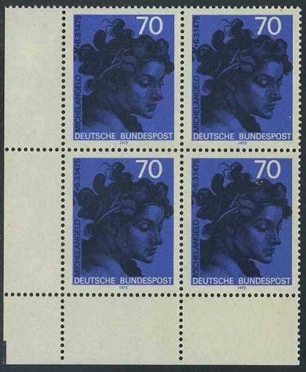 BUND 1975 Michel-Nummer 0833 postfrisch BLOCK ECKRAND unten links 0