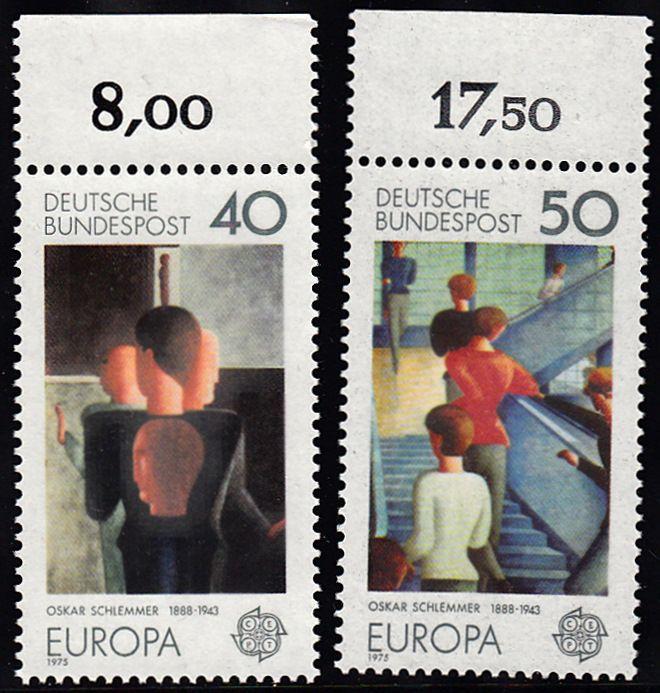 BUND 1975 Michel-Nummer 0840-0841 postfrisch SATZ(2) EINZELMARKEN RÄNDER oben (f) 0