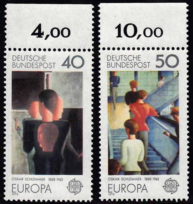 BUND 1975 Michel-Nummer 0840-0841 postfrisch SATZ(2) EINZELMARKEN RÄNDER oben (e)