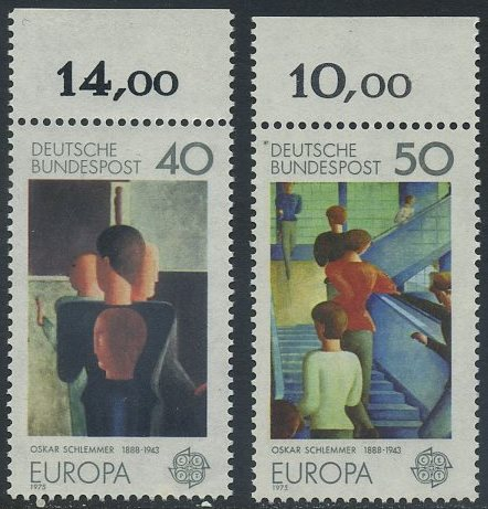 BUND 1975 Michel-Nummer 0840-0841 postfrisch SATZ(2) EINZELMARKEN RÄNDER oben (c)