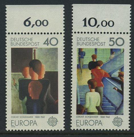 BUND 1975 Michel-Nummer 0840-0841 postfrisch SATZ(2) EINZELMARKEN RÄNDER oben (a)