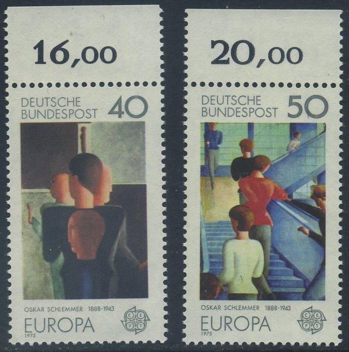 BUND 1975 Michel-Nummer 0840-0841 postfrisch SATZ(2) EINZELMARKEN RÄNDER oben (d) 0