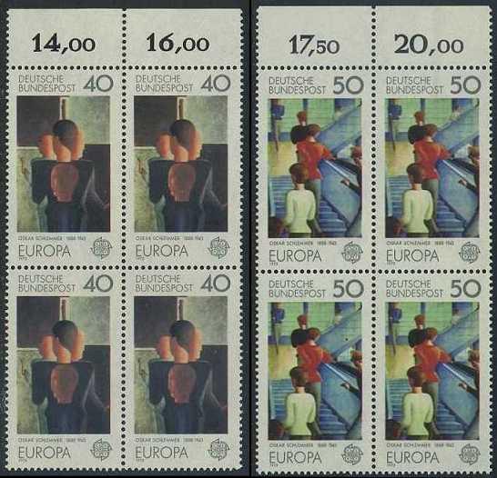 BUND 1975 Michel-Nummer 0840-0841 postfrisch SATZ(2) BLÖCKE RÄNDER oben