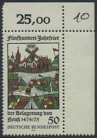 BUND 1975 Michel-Nummer 0843 postfrisch EINZELMARKE ECKRAND oben rechts  0