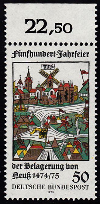 BUND 1975 Michel-Nummer 0843 postfrisch EINZELMARKE RAND oben (d) 0