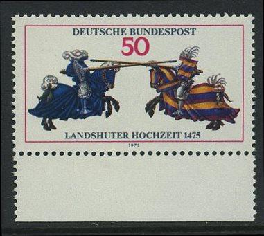 BUND 1975 Michel-Nummer 0844 postfrisch EINZELMARKE RAND unten