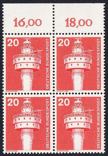 BUND 1975 Michel-Nummer 0848 postfrisch BLOCK RÄNDER oben 0