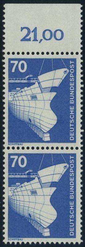 BUND 1975 Michel-Nummer 0852 postfrisch vert.PAAR RAND oben (a) 0