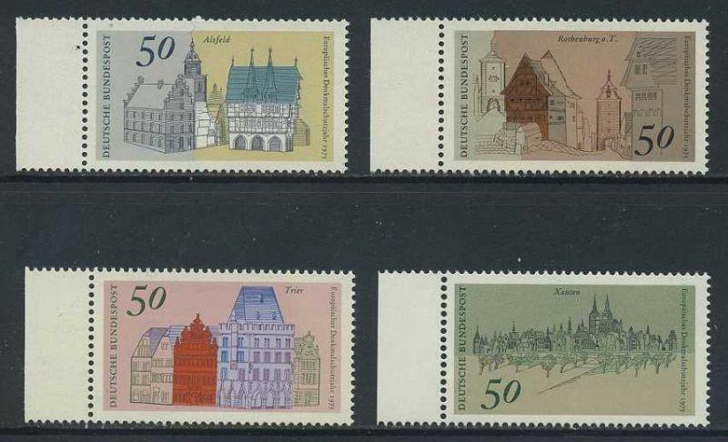 BUND 1975 Michel-Nummer 0860-0863 postfrisch SATZ(4) EINZELMARKEN RÄNDER links 0