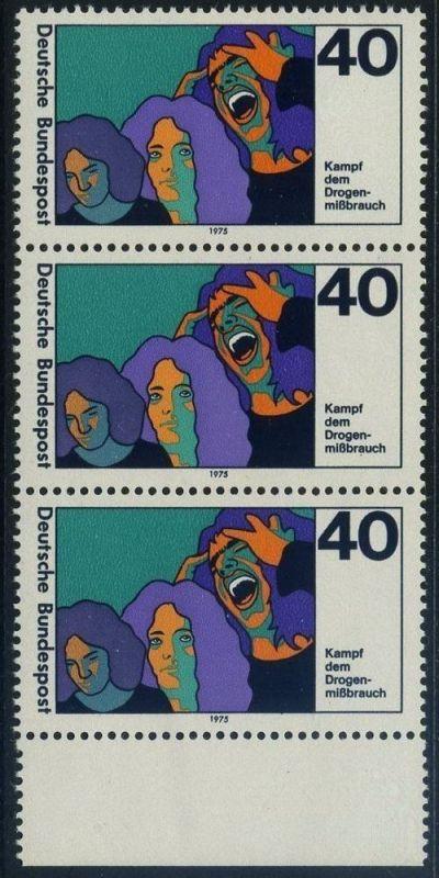 BUND 1975 Michel-Nummer 0864 postfrisch vert.STRIP(3) RAND unten 0
