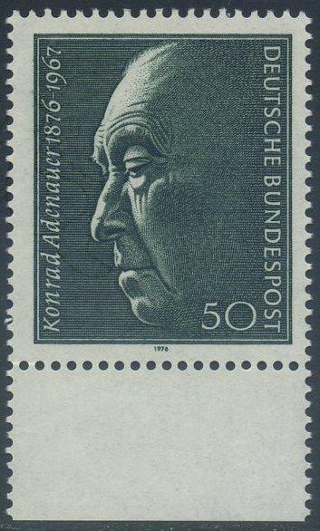 BUND 1976 Michel-Nummer 0876 postfrisch EINZELMARKE RAND unten