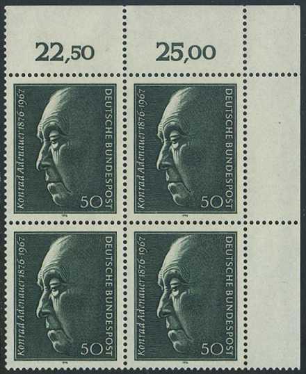 BUND 1976 Michel-Nummer 0876 postfrisch BLOCK ECKRAND oben rechts