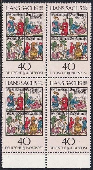 BUND 1976 Michel-Nummer 0877 postfrisch BLOCK RÄNDER unten