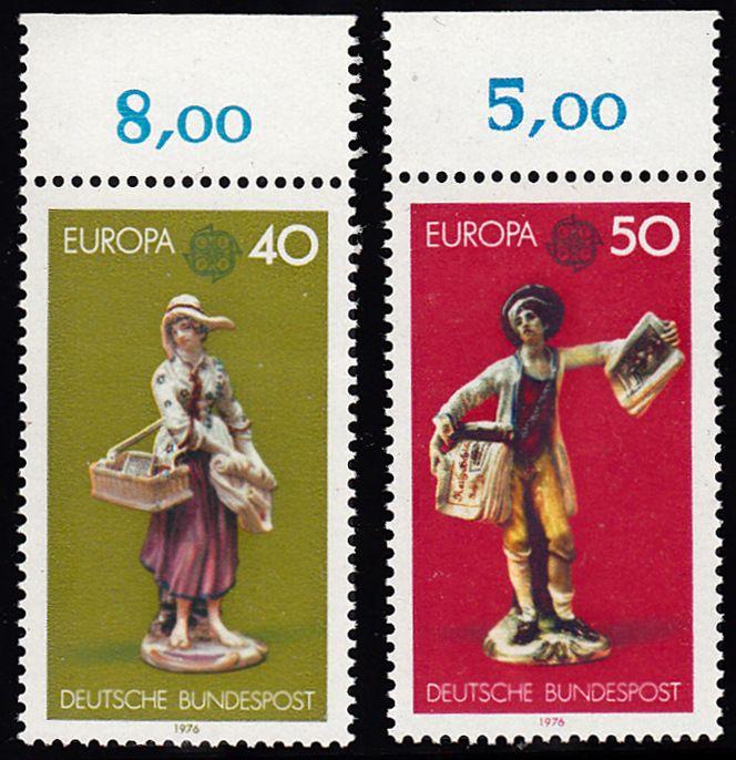 BUND 1976 Michel-Nummer 0890-0891 postfrisch SATZ(2) EINZELMARKEN RÄNDER oben (b)