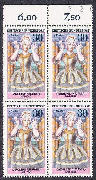BUND 1976 Michel-Nummer 0908 postfrisch BLOCK RÄNDER oben (a)