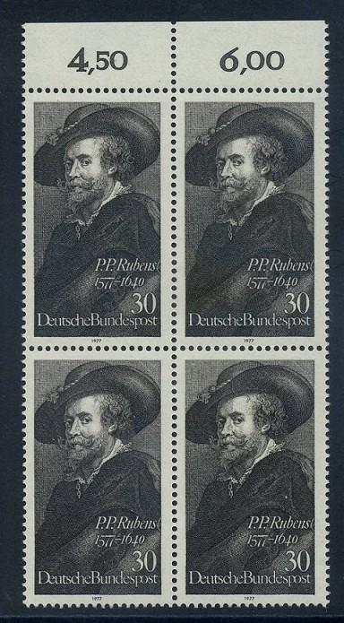 BUND 1977 Michel-Nummer 0936 postfrisch BLOCK RÄNDER oben (a)