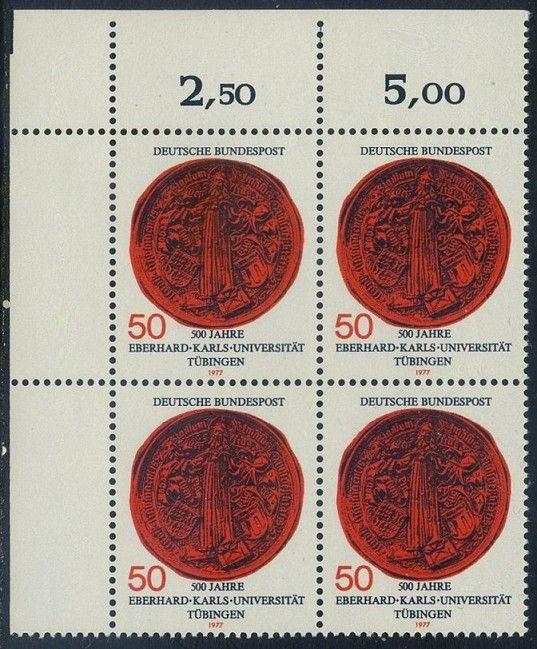 BUND 1977 Michel-Nummer 0946 postfrisch BLOCK ECKRAND oben links