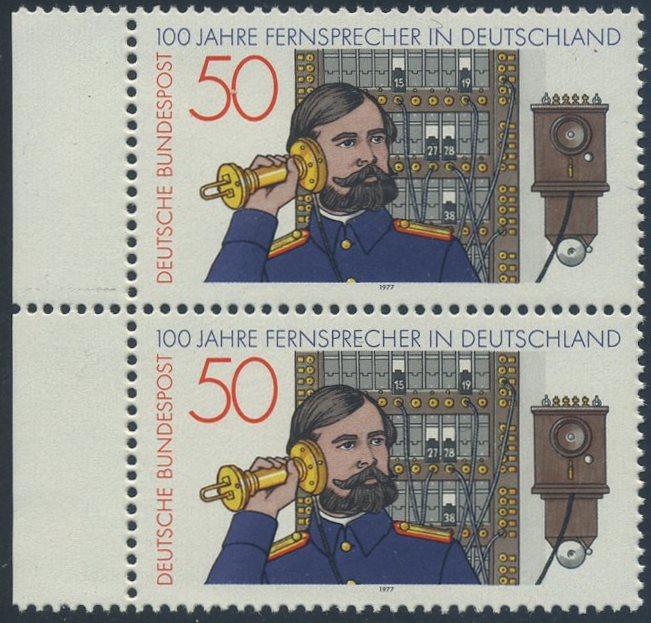 BUND 1977 Michel-Nummer 0947 postfrisch vert.PAAR RAND links