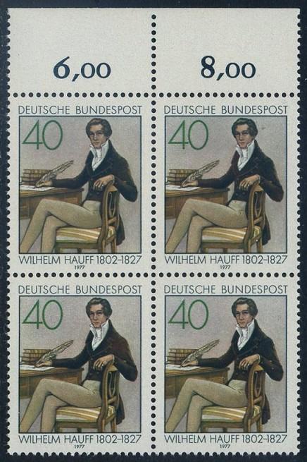 BUND 1977 Michel-Nummer 0954 postfrisch BLOCK RÄNDER oben
