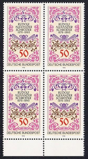 BUND 1978 Michel-Nummer 0956 postfrisch BLOCK RÄNDER unten