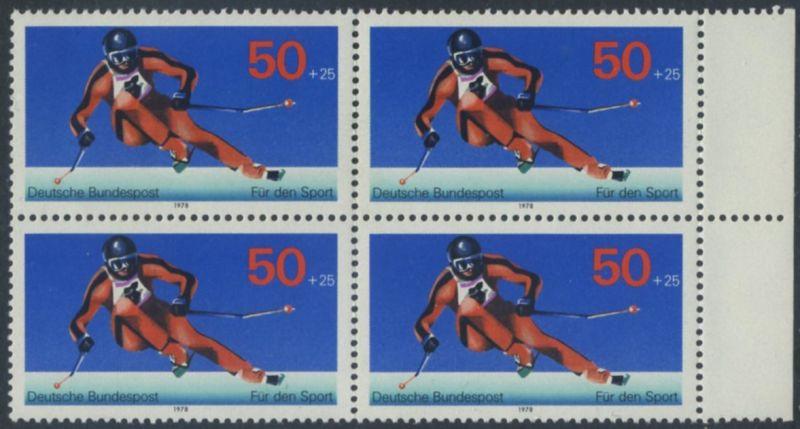 BUND 1978 Michel-Nummer 0958 postfrisch BLOCK RÄNDER rechts
