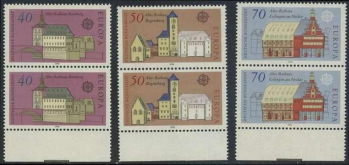 BUND 1978 Michel-Nummer 0969-0971 postfrisch SATZ(3) vert.PAARE RÄNDER unten