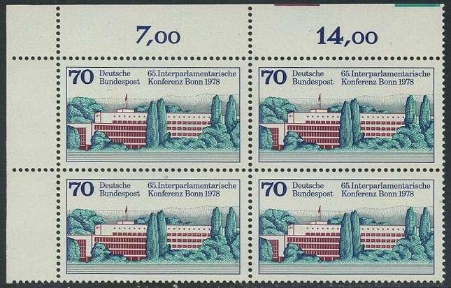 BUND 1978 Michel-Nummer 0976 postfrisch BLOCK ECKRAND oben links
