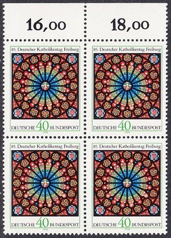 BUND 1978 Michel-Nummer 0977 postfrisch BLOCK RÄNDER oben