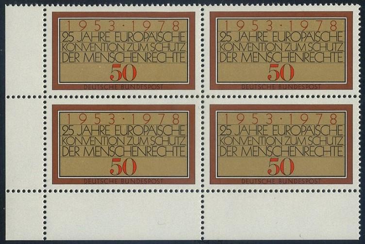 BUND 1978 Michel-Nummer 0979 postfrisch BLOCK ECKRAND unten links (a)