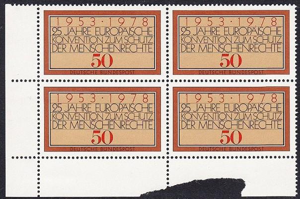 BUND 1978 Michel-Nummer 0979 postfrisch BLOCK ECKRAND unten links (b)