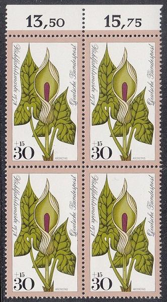 BUND 1978 Michel-Nummer 0982 postfrisch BLOCK RÄNDER oben