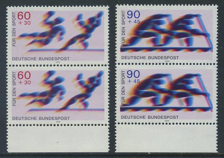 BUND 1979 Michel-Nummer 1009-1010 postfrisch SATZ(2) vert.PAARE RÄNDER unten