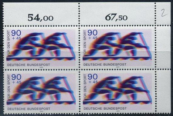 BUND 1979 Michel-Nummer 1010 postfrisch BLOCK ECKRAND oben rechts