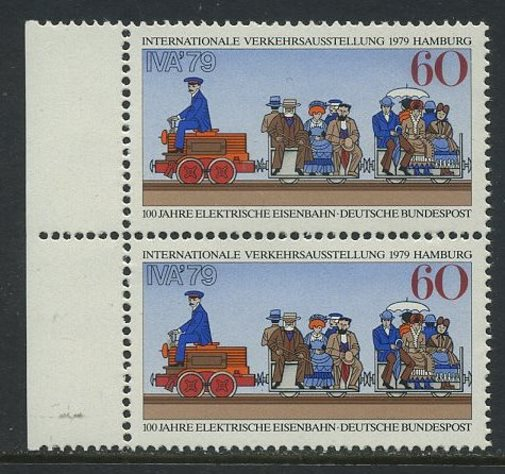 BUND 1979 Michel-Nummer 1014 postfrisch vert.PAAR RAND links