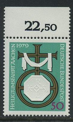 BUND 1979 Michel-Nummer 1017 postfrisch EINZELMARKE RAND oben (b)