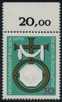 BUND 1979 Michel-Nummer 1017 postfrisch EINZELMARKE RAND oben (a)