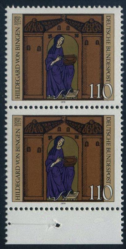 BUND 1979 Michel-Nummer 1018 postfrisch vert.PAAR RAND unten