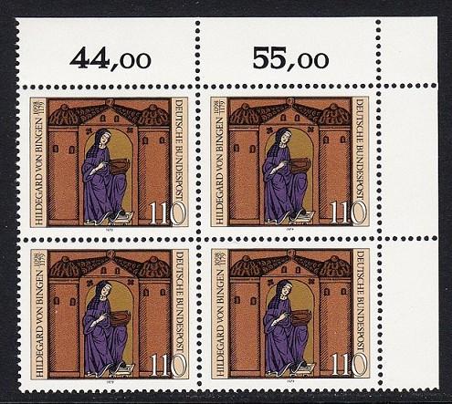 BUND 1979 Michel-Nummer 1018 postfrisch BLOCK ECKRAND oben rechts