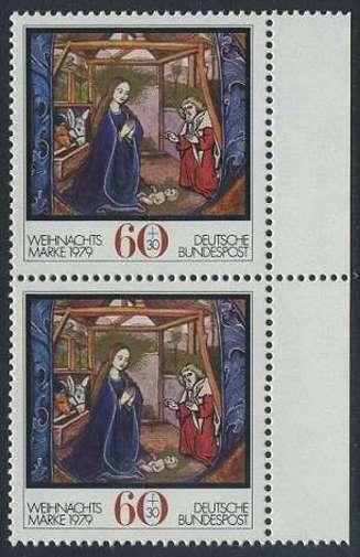 BUND 1979 Michel-Nummer 1032 postfrisch vert.PAAR RAND rechts