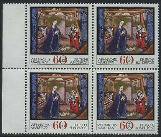 BUND 1979 Michel-Nummer 1032 postfrisch BLOCK RÄNDER links